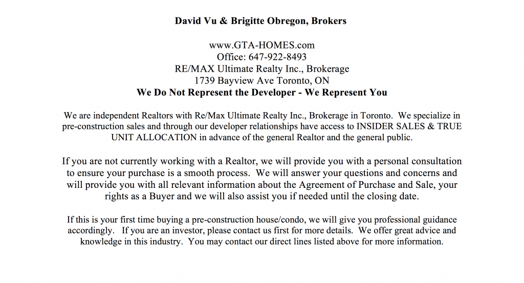 Condo Project Sales Contact Info